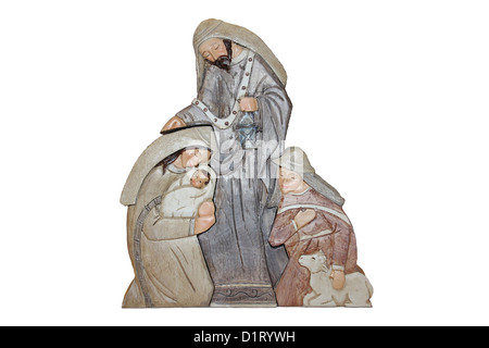 Christmas Decoration showing Mary, Baby Jesus and the Shepherds - Stock Photo