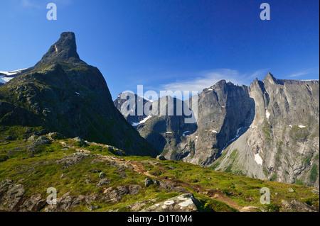 The peak Romsdalshorn (left) and the Troll Wall and Trolltindane (background) in Romsdalen valley, Møre og Romsdal, Norway.