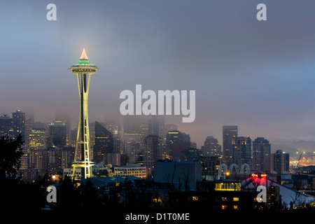 Seattle Skyline and Space Needle at dawn viewed from Kerry Park, Washington, USA - Stock Photo