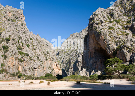 Sa Calobra, Mallorca, Balearic Islands, Spain. View along dry river bed in the rugged Torrent de Pareis gorge.
