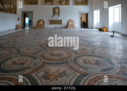Tunisia, Tunis, Roman mosaics in the Del Bardo museum - Stock Photo