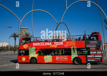 City Sightseeing double decker tour bus in Barcelona, Spain - Stock Photo
