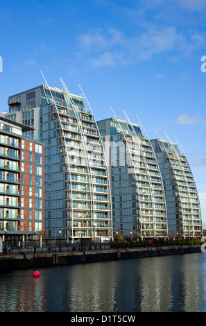 Offices and apartments at Salford Quays near Manchester in England, UK - Stock Photo