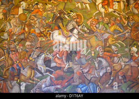 Fresco at Chehel Sotoun palace of the battle of Chaldoran between shah Ismaeel and sultan Salim, Isfahan, Iran - Stock Photo