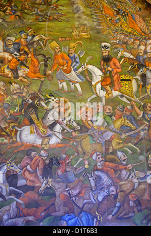 Fresco at Chehel Sotoun palace of the battle of Chaldoran between shah Ismaeel safavid and sultan Salim, Isfahan, - Stock Photo