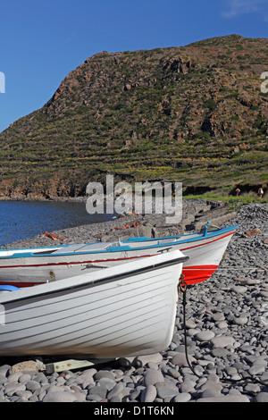 Pebbles beach in Filicudi, Aeolian Islands, Sicily, Italy - Stock Photo