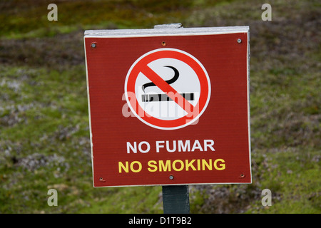 No Smoking sign in Spanish and English - Stock Photo