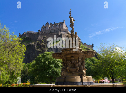View of Edinburgh Castle from Princes Street Gardens with the Ross Fountain, Scotland, Europe - Stock Photo