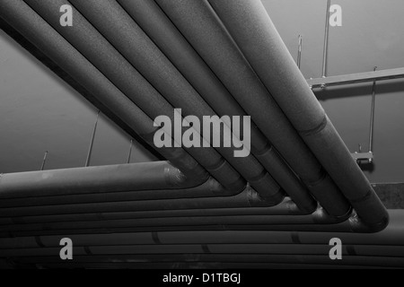 tubes system, grey pipes in building cellar, heating or cooling system