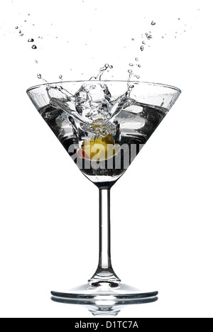 Cocktail Splash Glass With Spilled Liquid And Smoke