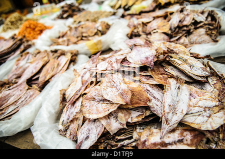 LUANG PRABANG, Laos - Dried squid at the morning market in Luang Prabang, Laos. - Stock Photo