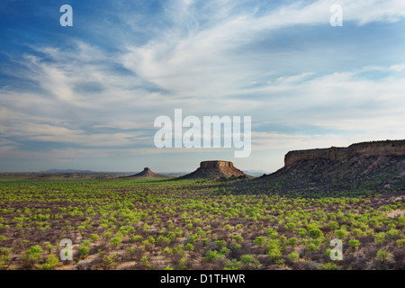 View of Ugab Terraces from Finger Rock in Damaraland in Namibia - Stock Photo
