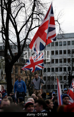 Belfast, UK. 5th Jan, 2013. Flag protests take place in Belfast after the City Council voted on the 3rd of December - Stock Photo