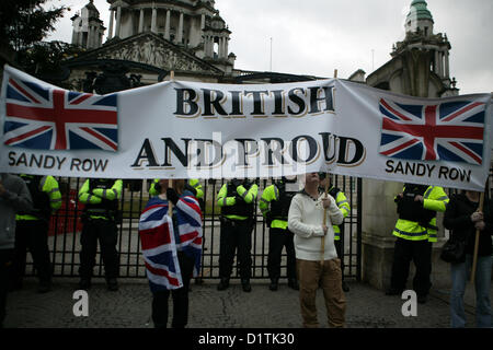 Belfast, UK. 5th Jan, 2013. 'British and Proud' banner on display at the ongoing Flag protest which took place in - Stock Photo