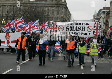 Belfast, UK. 5th Jan, 2013. Loyalist protesters as they leave Belfast city center. The ongoing flag protests took - Stock Photo