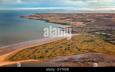 Aerial view over St Andrews, the Old Course Golf Course and West/East Sands, Fife, Scotland - Stock Photo