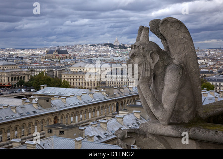 Gargoyle on the roof of the Notre Dame Cathedral in Paris, Ile de la Cite, France - Stock Photo