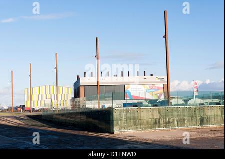 The Titanic Slipway Area by the Titanic Museum in Belfast Northern Ireland United Kingdom UK - Stock Photo