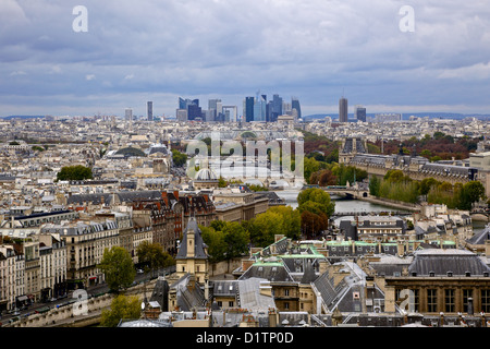 Paris city view showing the business district from the roof of the Notre Dame Cathedral in Paris, Ile de la Cite, - Stock Photo