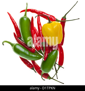 Heap of Rawit, Habanero and Jalapeno chilis isolated on white background - Stock Photo