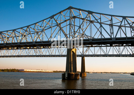 The Crescent City Connection, Greater New Orleans Bridge ,New Orleans, state of Louisiana, USA, North America, - Stock Photo