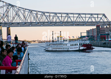 Cruise ship under bridge, French Quarter dock, New Orleans, state of Louisiana, USA, North America, - Stock Photo