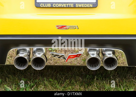 Exhaust pipes on a corvette - Stock Photo