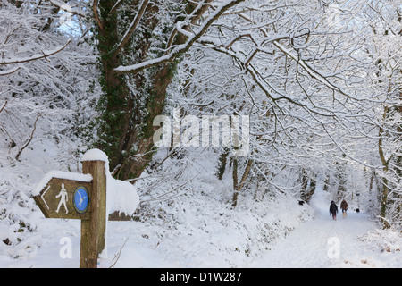 Isle of Anglesey coastal path signpost in woodland countryside covered with snow in winter setting with two people - Stock Photo