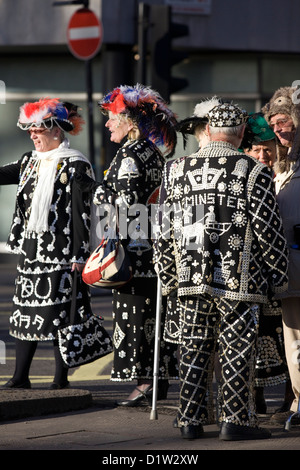 Pearly Kings and Queens known as pearlies at the New years Day Parade London 2013 - Stock Photo