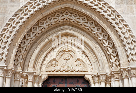 BUDAPEST - SEPTEMBER 22: Relief of Jesus the Pantocrator from side portal from Saint Matthew gothic church on September - Stock Photo