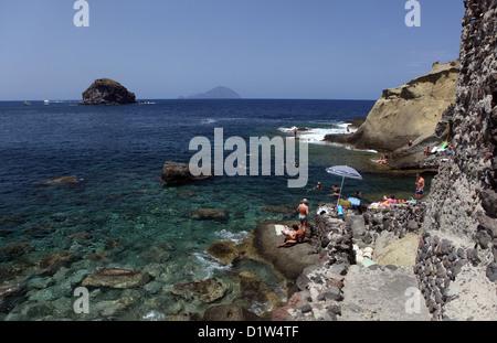 Salina, Italy, coastal landscape with views to the island Filicudi - Stock Photo