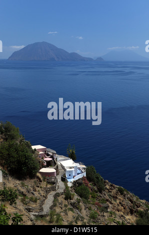 Alicudi, Italy, overlooking the islands of Filicudi (left) and Salina - Stock Photo
