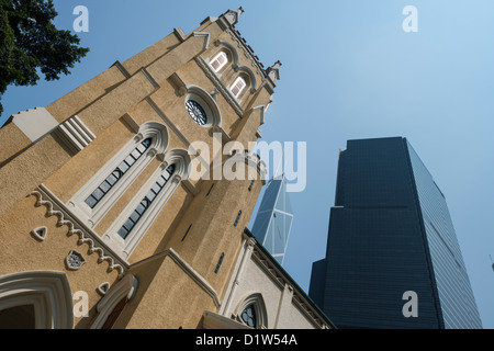 Ground Level View of Citibank Plaza and Bank of China Tower Buildings from St. John's Cathedral - Stock Photo