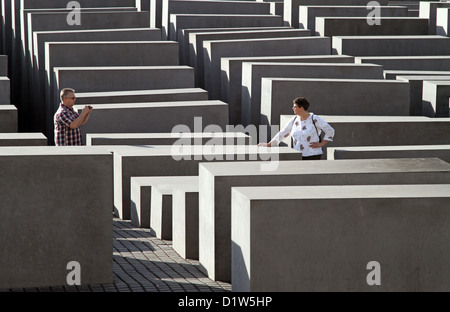 Berlin, Germany, the man shot a woman in the Memorial for the Murdered Jews of Europe, Holocaust Memorial - Stock Photo