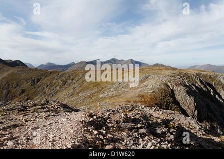 View towards Stob Coire Sgreamhach & Bidean nam Bian from Buachaille Etive Mor - Stock Photo