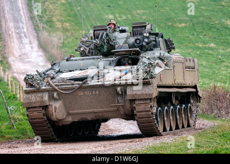 A British Army Warrior Infantry Fighting Vehicle on the Salisbury Plain Military Training Area in Wiltshire, United - Stock Photo