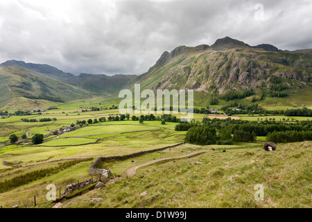 Langdale Pikes and Mickleden from Side Pike, The English Lake District, Cumbria, England
