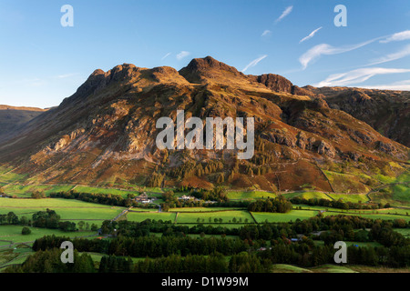 Langdale Pikes just after dawn, Langdale Fell, The English Lake District, Cumbria, England
