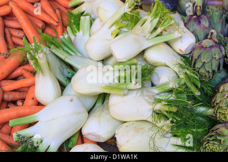 Fennel, carrots and artichoke at local market (close up view) - Stock Photo
