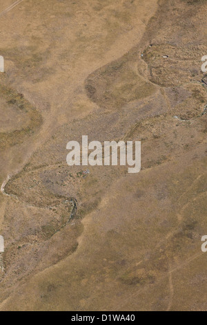 aerial view dry bed of the river - Stock Photo
