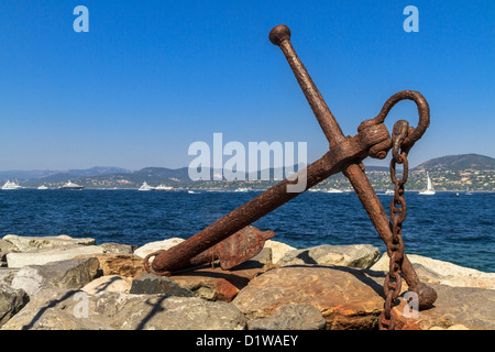 Rusted Anchor Monument, St. Tropez, France - Stock Photo