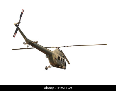 Ruined soviet helicopter isolated on white background - Stock Photo