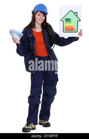 Woman stood with energy rating poster - Stock Photo