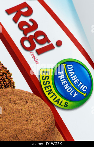 Indian Ragi Cookies packet with Diabetic friendly food label. India - Stock Photo