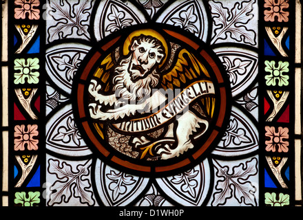 Saint Mark Symbol Stained Glass St Pauls Church Cookhill Stock