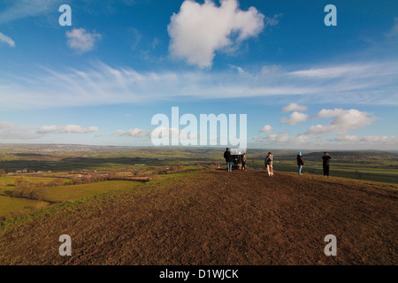 View over the county of Somerset from the Glastonbury Tor - Stock Photo