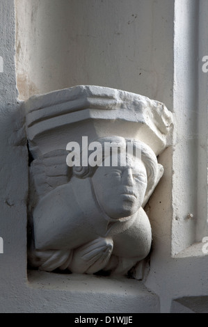 Praying angel carving, St. Edmund`s Church, Maids Moreton, Buckinghamshire, England, UK - Stock Photo