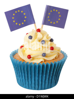 CUT OUT OF EUROPEAN UNION CUPCAKE - Stock Photo