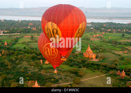 Spectacular birdseye view of the ancient temples alongside the Ayeyarwady River in Bagan from a hot-air balloon, - Stock Photo