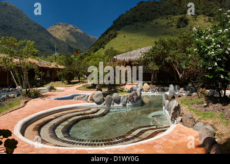 bath with hot springs in hotel of Papallacta, Andes, Ecuador - Stock Photo